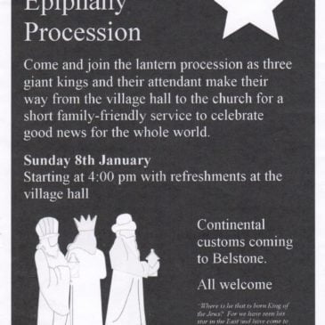 Belstone Epiphany Procession – Sunday 8th January