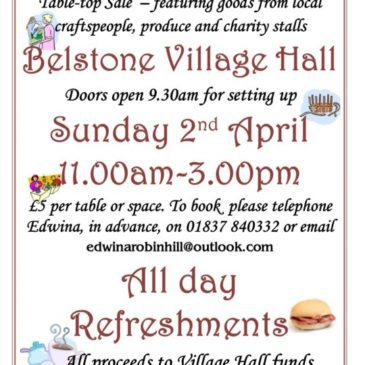 Belstone Bazaar – Village Hall 2nd April